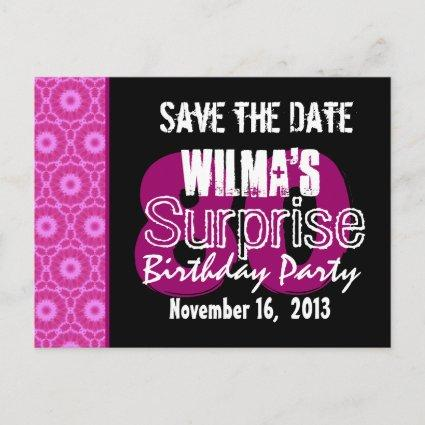 Save the Date Surprise 80th Party Pink W1751 Announcement