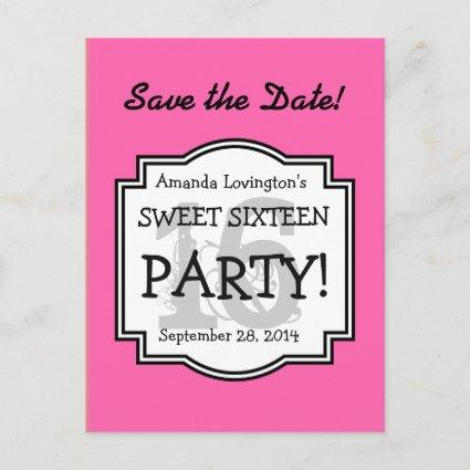 Save the Date Sweet 16 Birthday Party A02 PINK Announcement