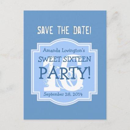 Save the Date Sweet 16 Birthday Party V005 BLUE Announcement