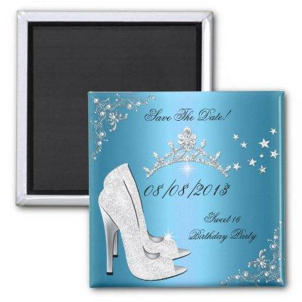 Save The Date Sweet 16 Blue High Heels Shoes Tiara Magnets
