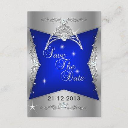 Save The Date Sweet 16 Blue Silver Tiara