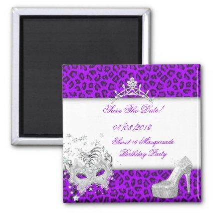 Save The Date Sweet 16 Masquerade Purple Magnet