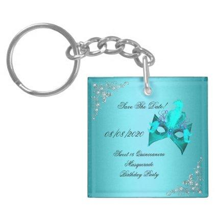 Save The Date Sweet 16 Quinceanera Masquerade Teal Keychain