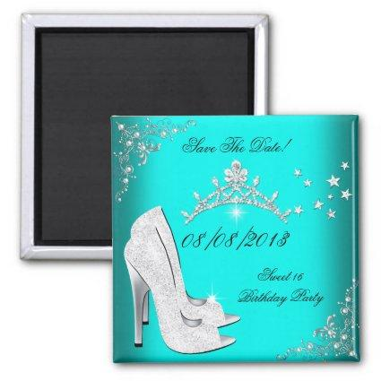 Save The Date Sweet 16 Teal High Heels Shoes Tiara Magnet