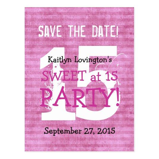 Save The Date Sweet At 15 Birthday Party V03d Cards Save The Date