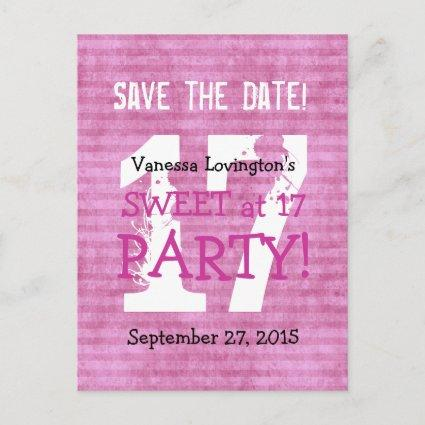 17 birthday save the date cards save the date cards sweet at 17 birthday party v03e announcements cards stopboris Image collections