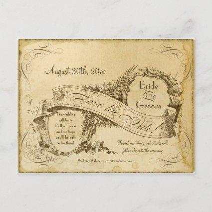 Save the Date - Tea Stained Vintage Wedding 1 Announcement