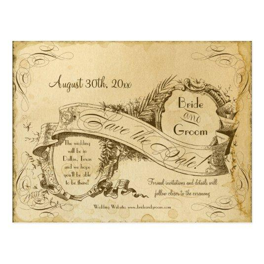 Save the Date - Tea Stained Vintage Wedding 1