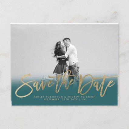 Save the Date teal gold faux gold photo Announcement