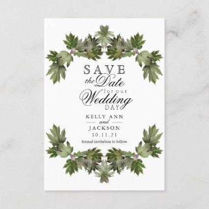 Save the Date - Trendy Green Leaf Swags