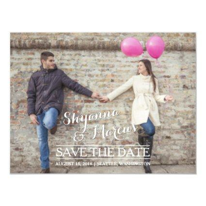 Save the Date Trendy Typography Photo Template Magnetic Invitation
