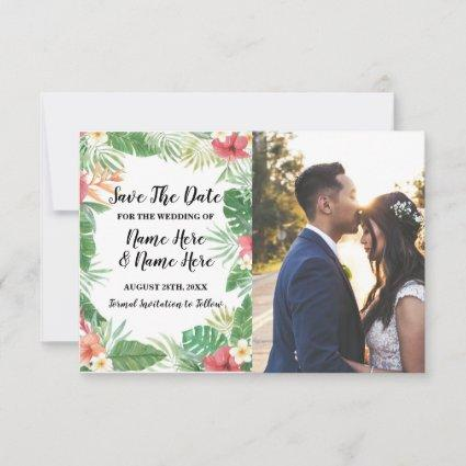 Save the Date Tropical Aloha Floral Flowers Photo