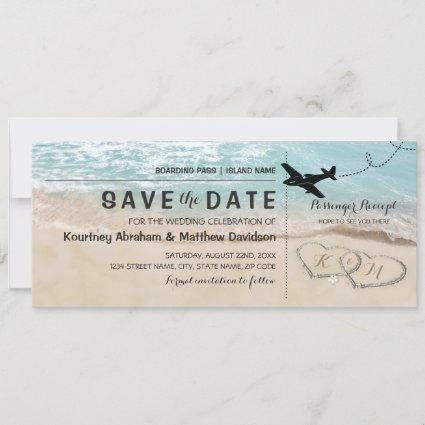 Save the Date Tropical Beach Hearts Boarding Pass
