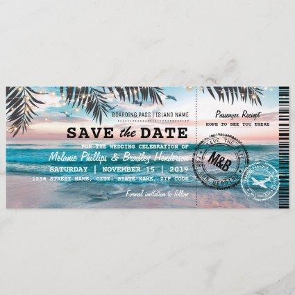 Tropical Beach Lights Boarding Pass