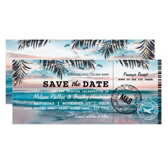 Save the Date Tropical Beach Lights Boarding Pass Cards