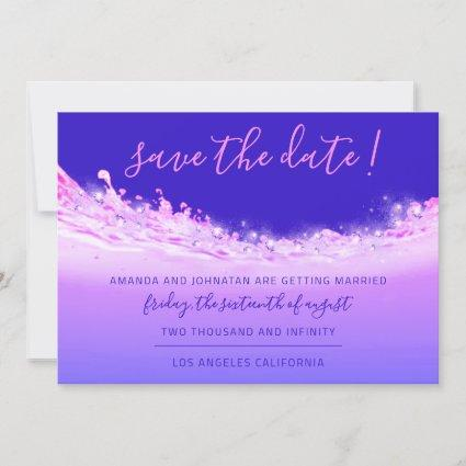 Save The Date Tropical Ocean Pink Waves Ombre Blue