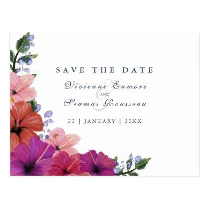 Save the Date tropical watercolor flower wedding