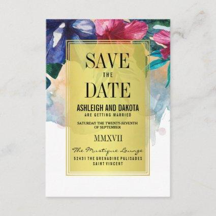 Save The Date | Tropical Watercolor Flowers