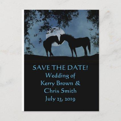 Save the Date two Horses in Moonlight