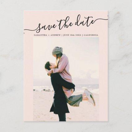 Save the date typography blush couple photo announcement