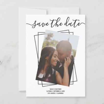 Save The Date Typography Photo Wedding Card