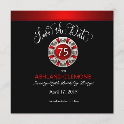 Save the Date Vegas Casino Chip | red silver black