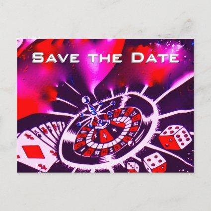 Save the Date Vegas Casino Wedding Purple Passion Announcements Cards