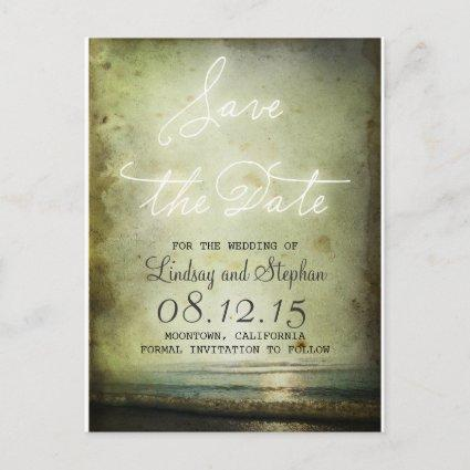 Save the Date Vintage Beach Magnets Announcement