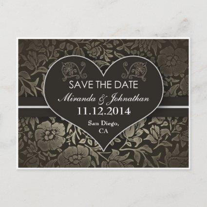 save the date vintage damask love heart post