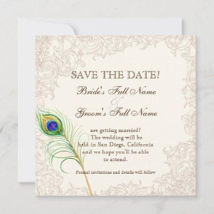 Save the Date - Vintage Peacock & Etchings