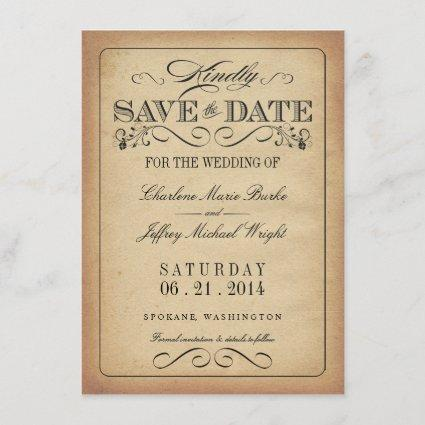 Save the Date - Vintage Rustic Parchment