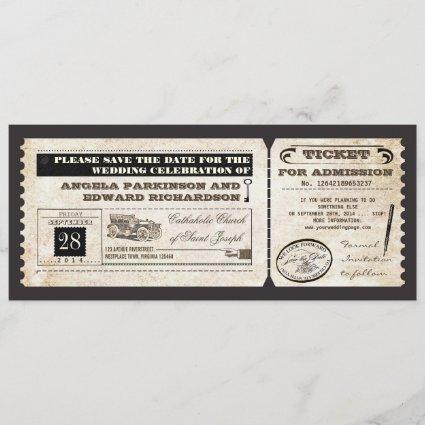 save the date vintage tickets design