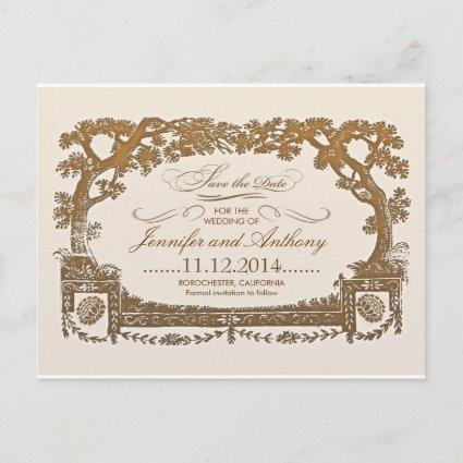 save the date vintage trees typographic s