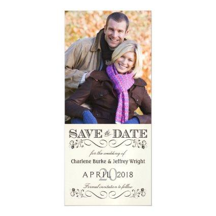 Save the Date Vintage White Wedding Photo Invite