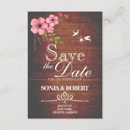 Save the Date - Vintage Wood, Doves, Pastel Flower