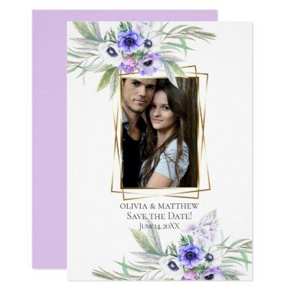 Save the Date  |  Violet Anemone Floral Bouquets Invitation