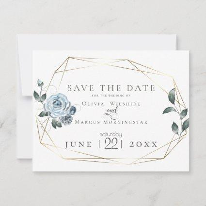 Save the Date  |  Watercolor Dusty Blue Floral