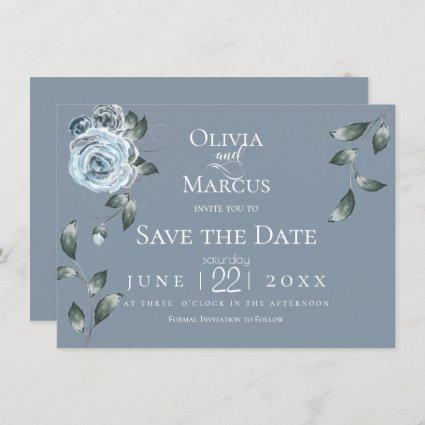 SAVE THE DATE | Watercolor Dusty Blue Floral Invitation
