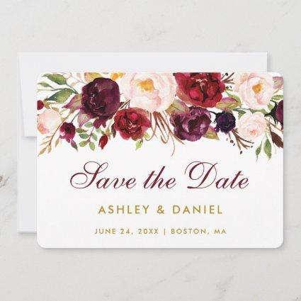 Save The Date Watercolor Floral Burgundy Gold BB