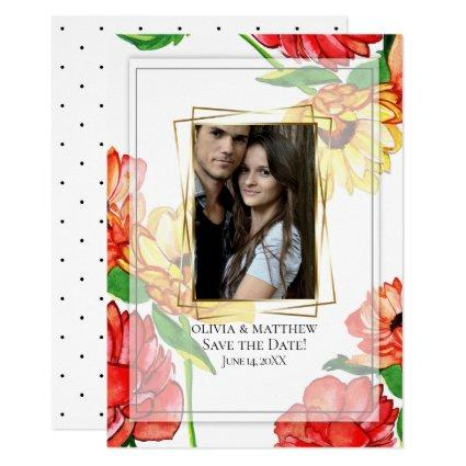 Save the Date | Watercolor Floral Photo Frame Invitation