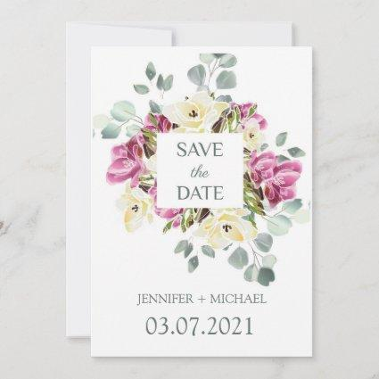 Save the date watercolor freesia and eucalyptus