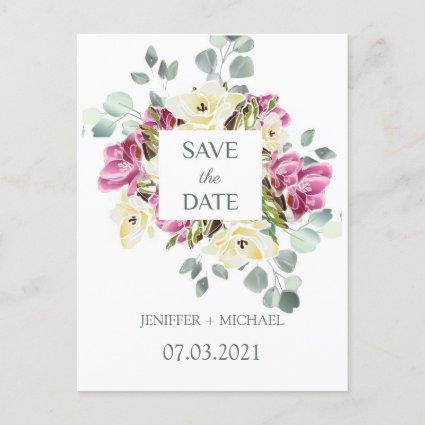 Save the date watercolor freesia and eucalyptus announcement