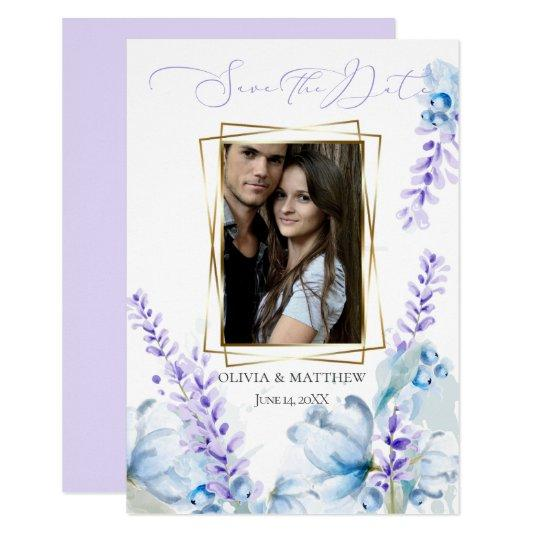 SAVE THE DATE | Watercolor Lavender - Dusty Blue Invitation