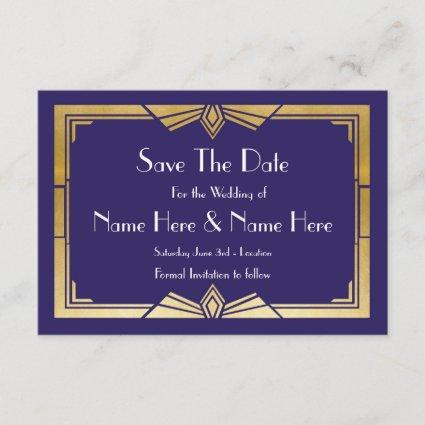 Save The Date Wedding 1920's Navy Gold Invites