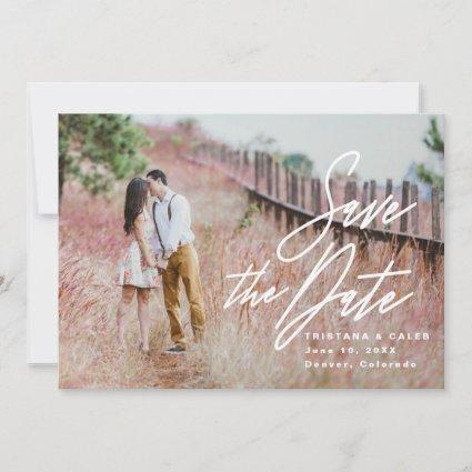 Save the Date wedding announcement, script, photo