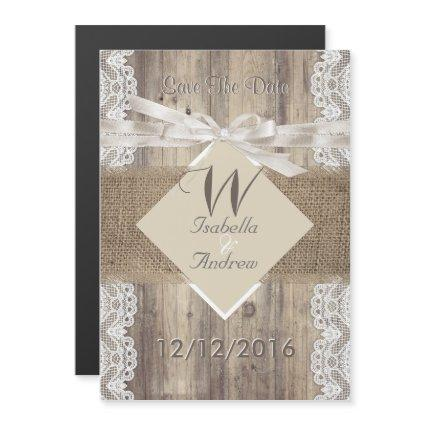 Save The Date Wedding Beige White Lace Wood Burlap Magnetic Invitation