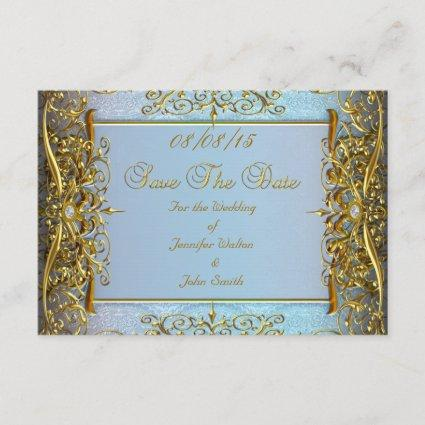 SAVE THE DATE Wedding Blue Gold