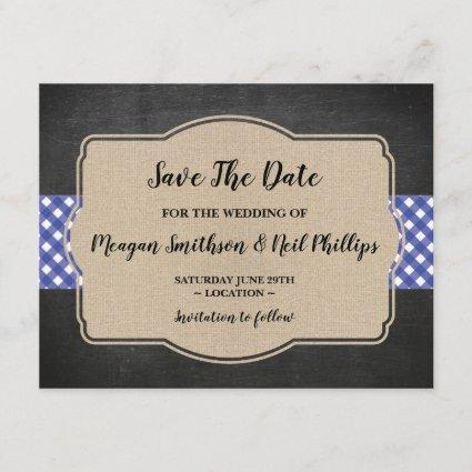 Save The Date Wedding Card Blue Gingham Burlap BBQ