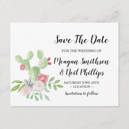 Save The Date Wedding Card Cactus Painted Couples