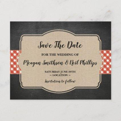 Save The Date Wedding Card Red Gingham Burlap BBQ